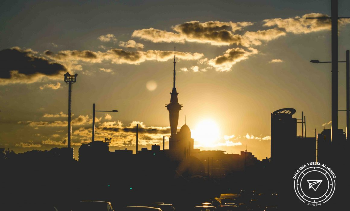 auckland sunset sky tower