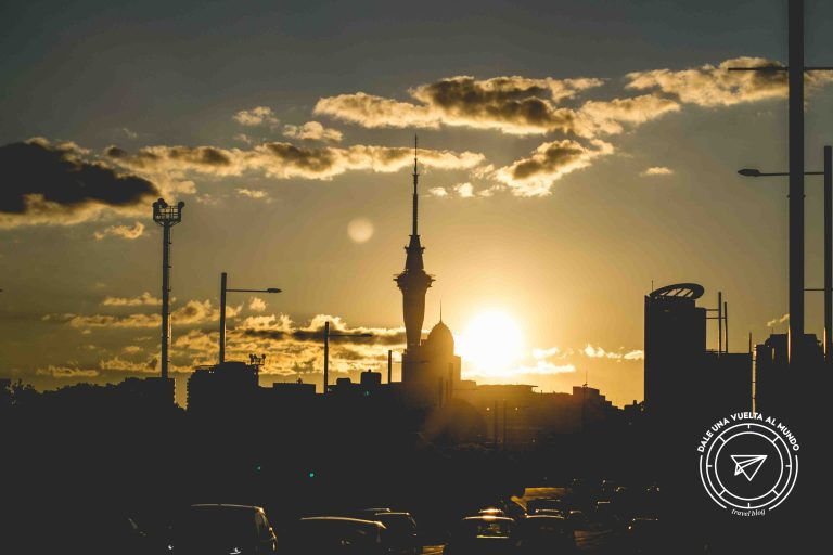 auckland sunset sky tower