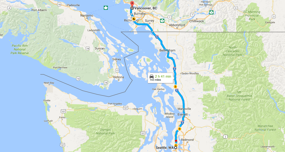seattle to vancouver, BC